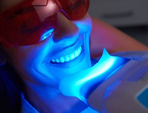 young woman getting her teeth whitening in-office