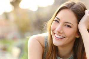 Woman confidently smiling